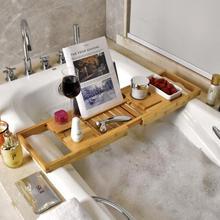 Бамбуковый поднос для ванной, для душа, бокал для вина, держатель для книги, стойка для ванной, подставка для хранения в ванной, организация, аксессуары для ванной