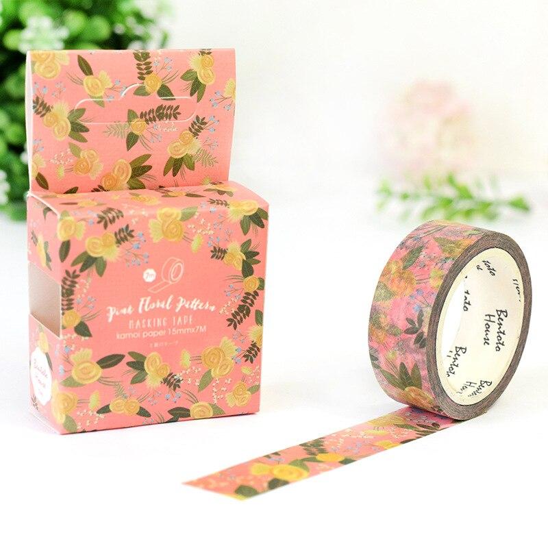 Pink Floral Washi Tape Adhesive Tape Diy Scrapbooking Sticker Label Masking Tape Student Stationery Gift