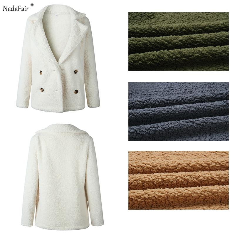 Nadafair plus size fleece faux fur jacket coat 5