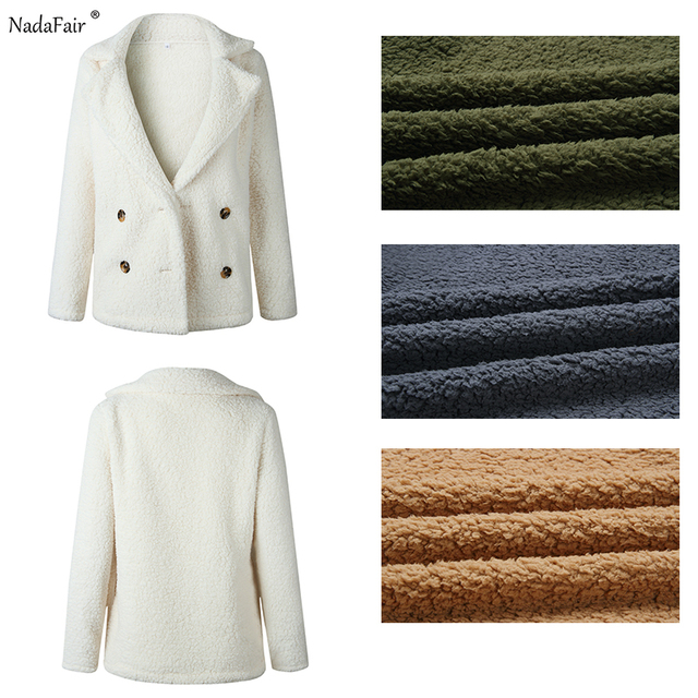 Nadafair plus size fleece faux fur jacket coat women winter pockets thick teddy coat female soft plush overcoat veste fourrure 5