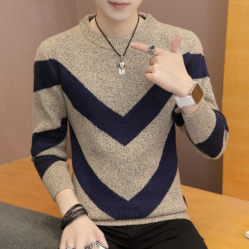 2019 Men's Semi-round Collar Sweater Men's  Self-cultivation Thickening Sweater