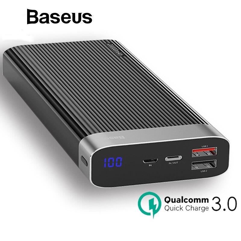 Baseus в режиме реального времени запасные аккумуляторы для телефонов 20000 мАч Quick Charge QC3.0 внешний аккумулятор Тип C PD Быстрая зарядка повербанк