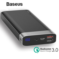 Baseus Portable 20000mah Power Bank Quick Charge QC3.0 Powerbank Mobile External Battery Pack Dual USB Power Bank for iPhone X
