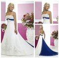 Vintage Style Silver Embroidery On Satin White and Royal Blue Wedding Dress 2017
