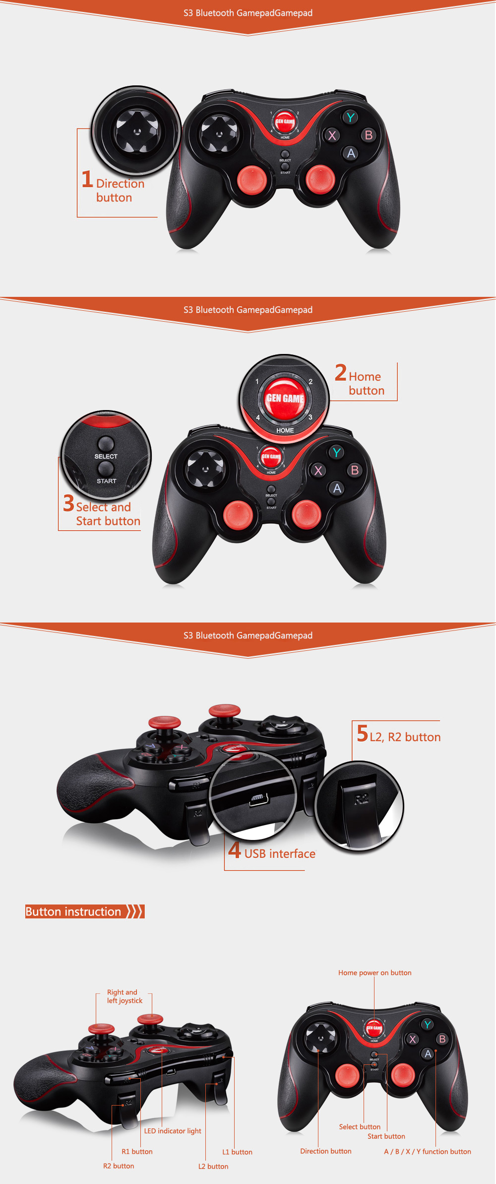 Terios S3-Wireless Bluetooth Gamepad  (6)
