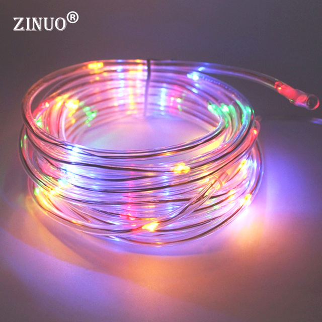 ZINUO 50Leds Solar LED String Lights Outdoor 9 Colors Rope Tube Led String  Solar Powered Lights
