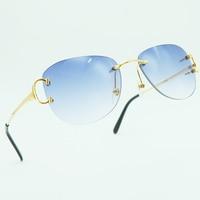Fashion Sunglasses Mens Rimless Carter Glasses Oval Luxury Designer Brand Metal Shades Holiday Decoration Popular Sun Eyewear