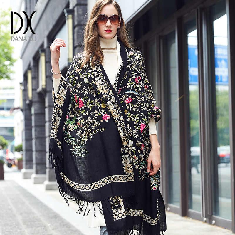 100% lana Poncho cabeza bufandas mujer elegante señora Carf y chal cálido largo estampado Animal Stoles Bandana bufanda Hijab lujo marca