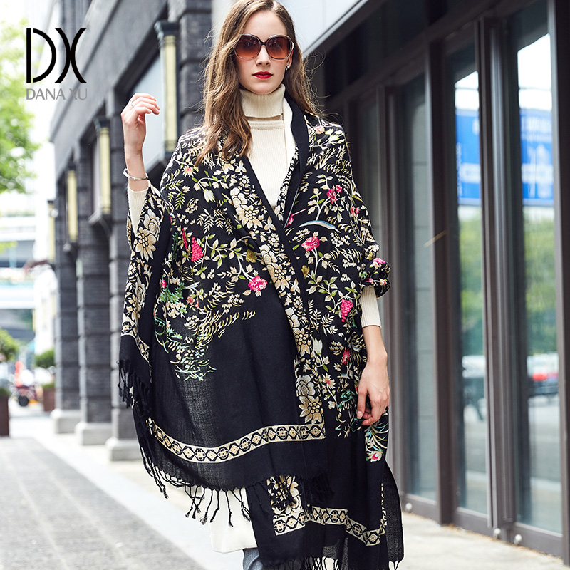 DANA XU Bufanda Mujer Wool Poncho Head Scarves Women Elegant Lady Carf And Warm Shawl Stoles