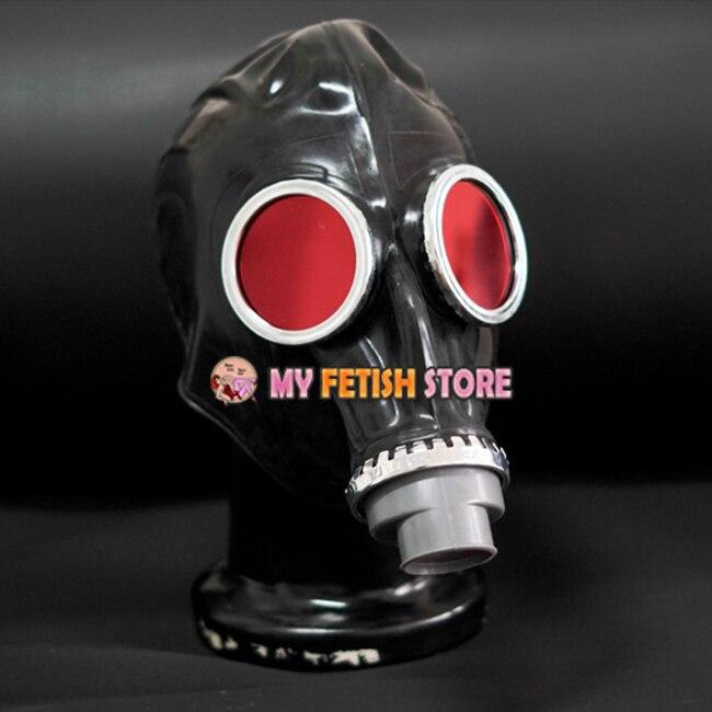 (FE-00)Quality latex rubber full head conquer black gas mask fetish hood accessory breathing control equipment latex fetish wear