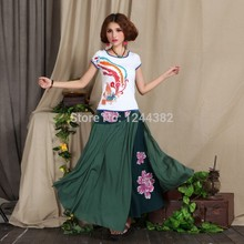 Boshow European Style Cotton High Waist Dress with Irregular Flowers Multiple Sizes