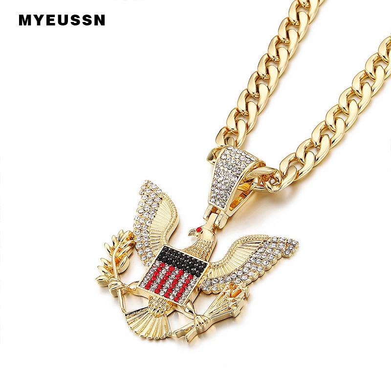 Águila Calva colgante encanto cadena collar oro/plata Iced Out Cristal de Cuba collar hombres Hip Hop joyería