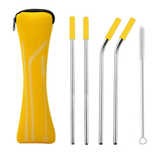 EIMAI 4Pcs Colorful Reusable Silicone Tips Cover Stainless Steel  Drinking Straws Metal Straw With Brush Set Bar tool
