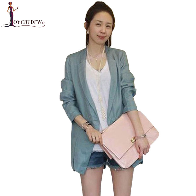 Spring Women Suit Coat 2018 New Loose Autumn Casual Cotton Small Suit Fashion Solid Color Slim Small Suit Coat Female Holiday 34