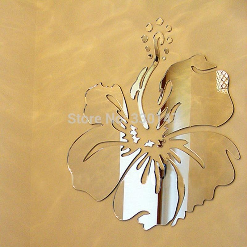 Flower Mirror Wall Sticker 40*40cm ( 16*16 inches ) Acrylic ...