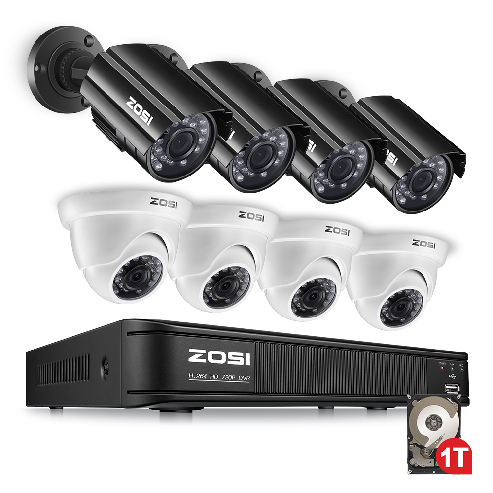 ZOSI 1080N HDMI DVR 1280TVL 720P HD Outdoor Home Security Camera System 8CH Video Surveillance DVR 1TB HDD TVI CCTV Kit zosi 8ch cctv system 1080n hdmi tvi cctv dvr 8pcs 720p ir outdoor security camera 1280 tvl camera surveillance system