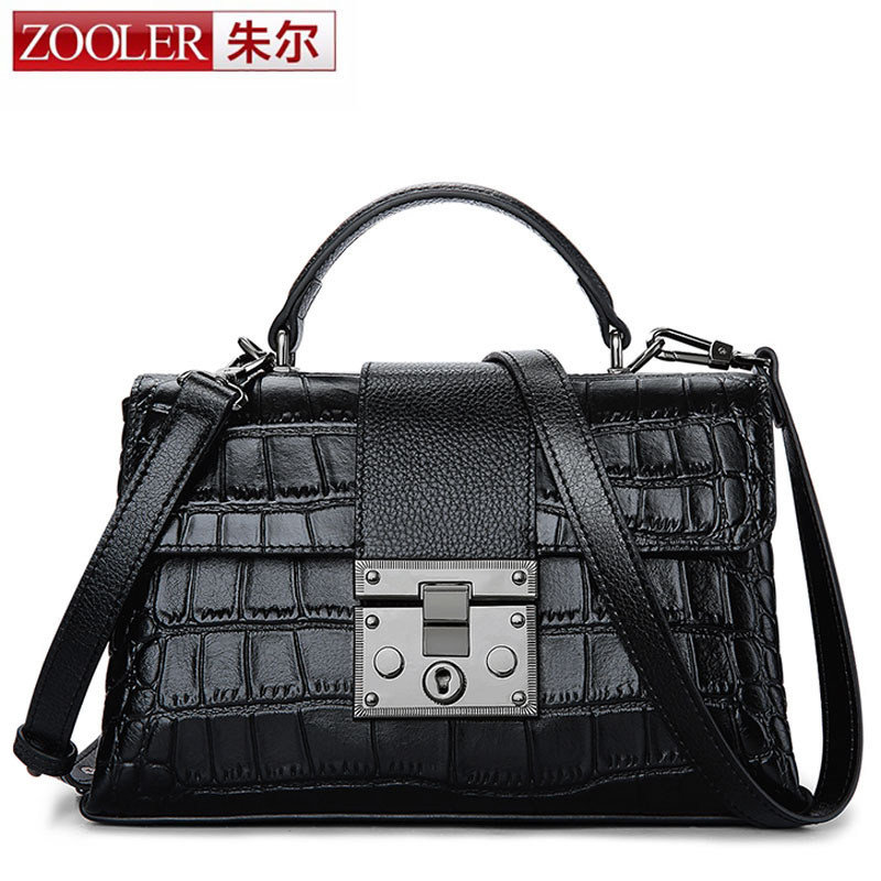 ZOOLER 2018 New Genuine Leather Bags Women Crocodile Pattern Leather Shoulder Bag Evening Clutch Small Purse Cover Messenger Bag yuanyu 2018 new hot free shipping import crocodile women chain bag fashion leather single shoulder bag small dinner packages
