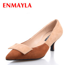 ENMAYLA Women Flock Mixed Color Pumps Low Heels Shoes Thin Slip-On Pointed Toe Woman Size -40 Orange