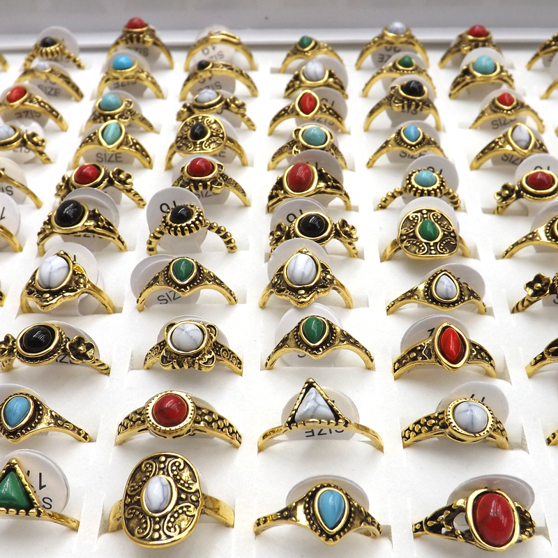 50pcs Tibetan Vintage Style Rings Semi Precious Stone For Women High Quality