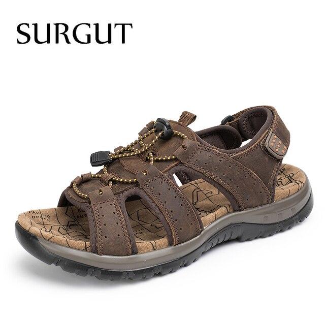 Surgut ブランド通気性のサンダルの本物の革の靴男性のサンダルノンスリップビーチ夏スリッパ男性ビッグサイズ