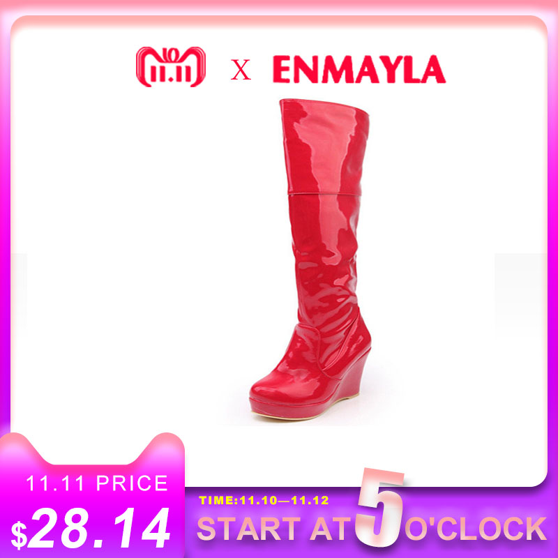 ENMAYLA White Red Platform Wedges Boots Over-The-Knee Long Boots Women High Heels Slip On Boots For Women Spring Autumn Shoes enmayla women high heels platform bling knee boots winter pointed toe shoes woman red black long boots
