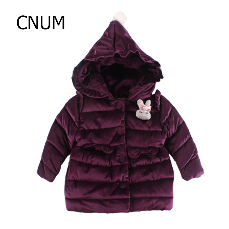 CNUM Winter Girls Coats and Jackets Baby Girls Padded Jacket Fashion Girls Clothes 3 Years 4 Kid Clothing Outerwear Hoodies 2017