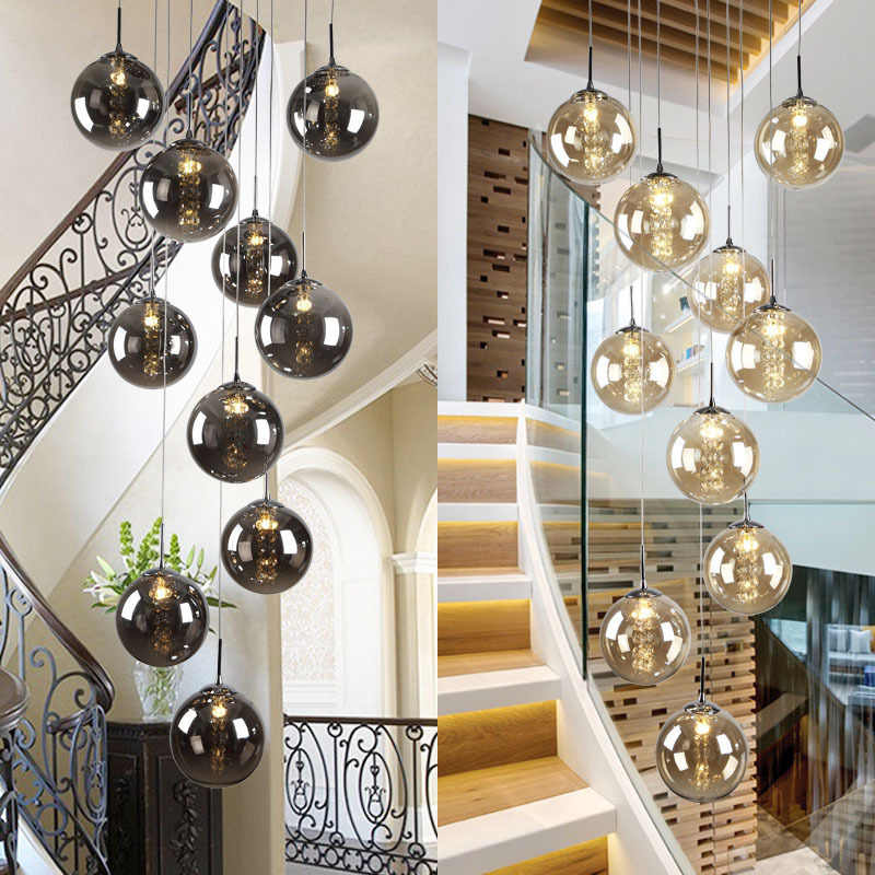 XL 1-5M glass ball Pendant lights for Staircase black ball lamp spiral pendant lamp G4 stair led lustre hotel stairwell lamparas