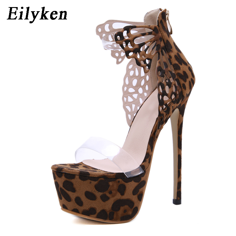 Eilyken 2019 New Leopard grain Women Sandals Platform high heels 16.5cm Butterfly-knot Pumps Woman Gladiator Zipper Party ShoesEilyken 2019 New Leopard grain Women Sandals Platform high heels 16.5cm Butterfly-knot Pumps Woman Gladiator Zipper Party Shoes