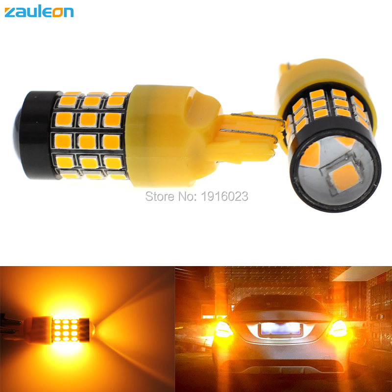 Zauleon 2pcs T20 7440 7443 W21W W21/5W 616 lumens Amber Yellow LED Bulbs For Front Turn Signal Lights Parking Lamp car-styling 2pcs amber yellow 2835 smd 7443 7440 t20 7444na led bulbs for car led bulbs for front turn signal lights daytime running lights