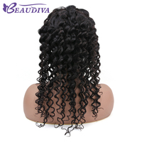 Beau Diva 4*4 Brazilian Lace Front Human Hair Wigs For Women Non Remy Natural Black Wig Pre Plucked Deep Wave Full End
