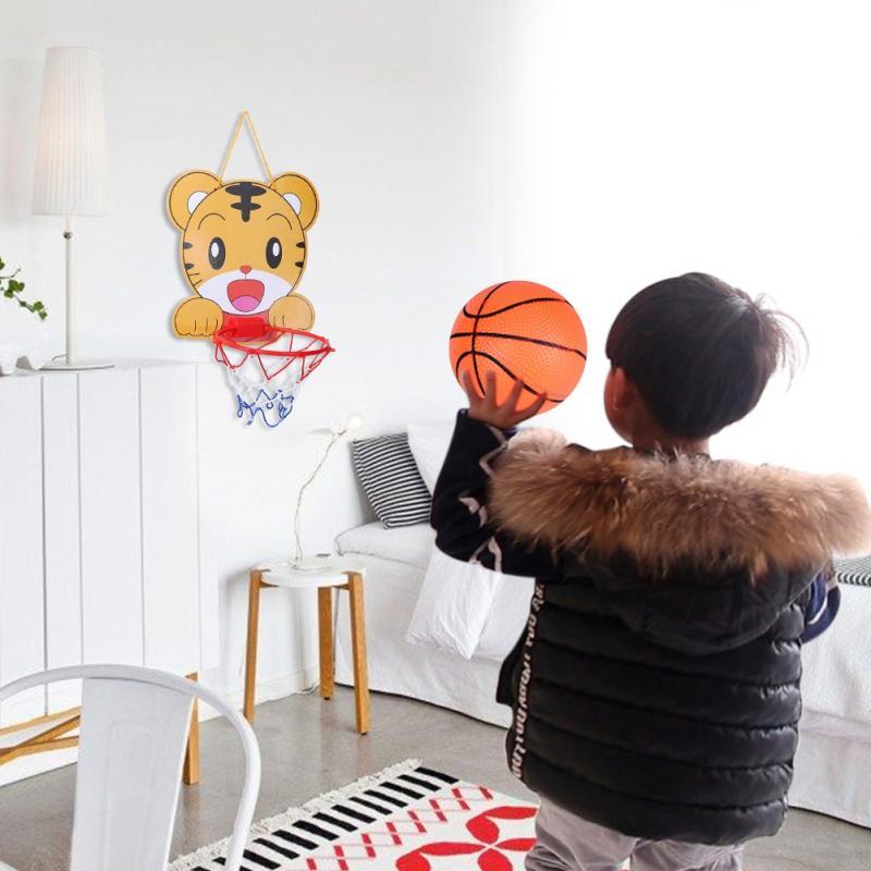 Hot sale Cartoon Animal Portable Plastic Basketball Hoop Kids Indoor Sports Hanging Basketball Hoop with Ball kids toy set