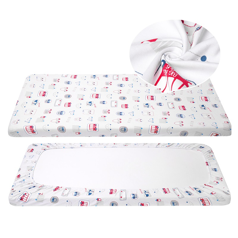 Printed Baby Crib Fitted Sheet Dustproof Mattress Cover For Baby Bed 1 Piece Cotton Toddler Cot Cover Breathable Newborn Bedding