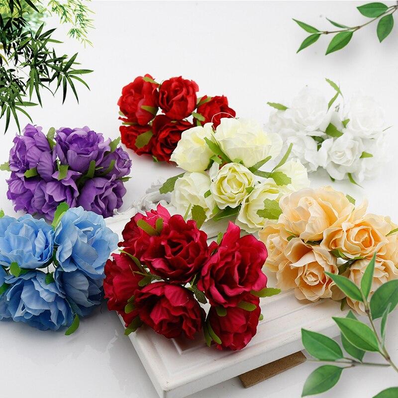 6 Pcs Silk Small Tea Rose Cheap Artificial Flowers Bouquet