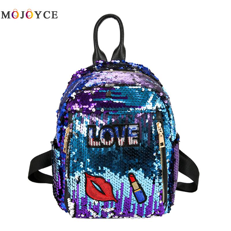 Bling Girls Sequins Backpack Fashion Love Letter Print Womens Paillette Leisure School Book Bags Top Quality Mochila womens fashion cute girls sequins backpack paillette leisure school bookbags leather backpack ladies school bags for teenagers