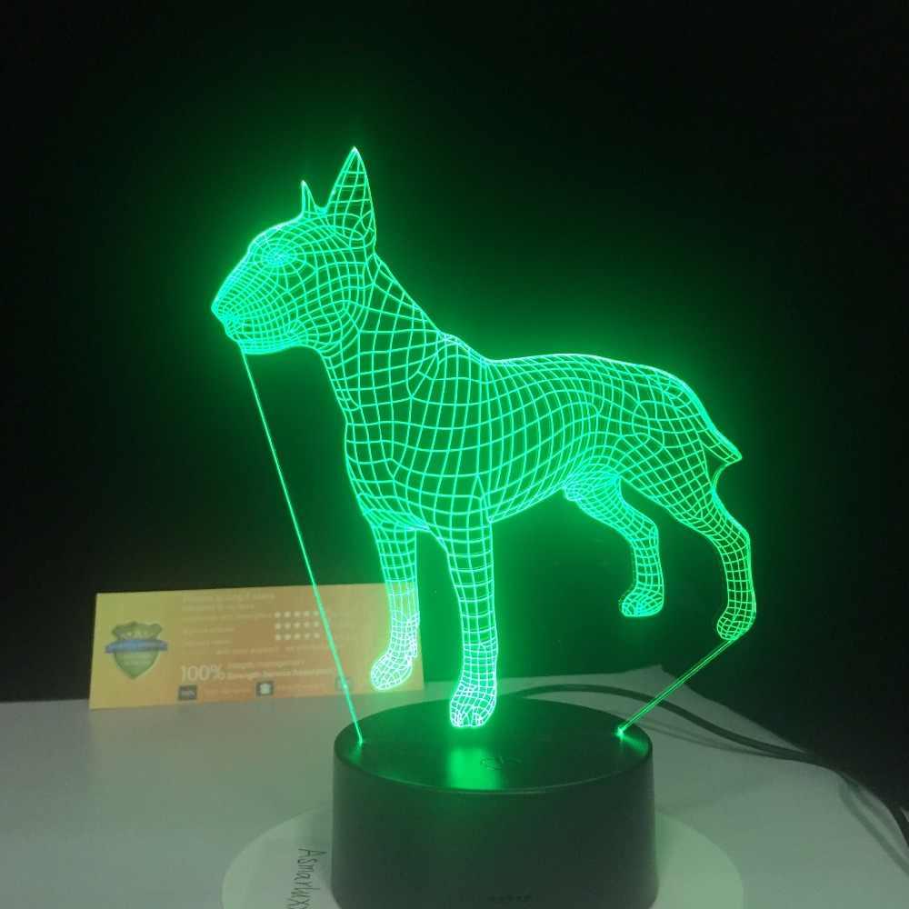 Бультерьер собака 3D Lampen 7 цветов USB ночника светодио дный для детей день рождения творческий прикроватной тумбочке Декор подарок поддержка Бесплатная дропшиппинг