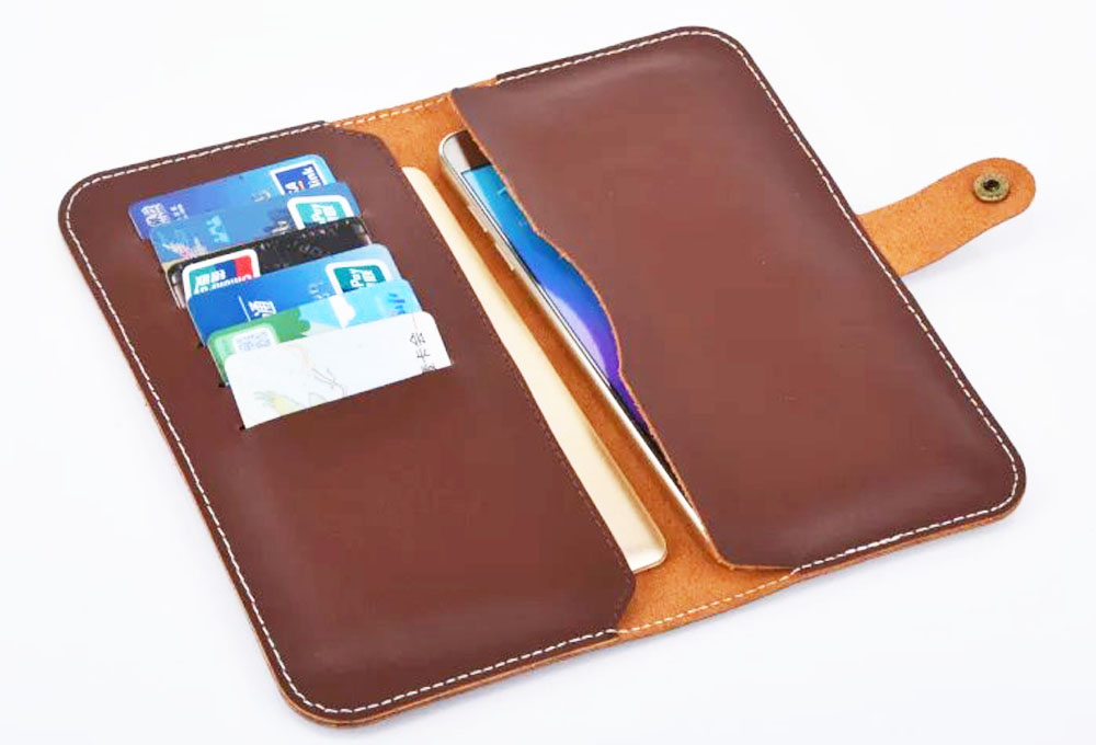 Strap Hand Card Wallet Genuine Cow Leather Mobile Phone Case Pouch For Samsung Galaxy Note Edge/Note 3/Note 4/Note 5/A7/E7/J7
