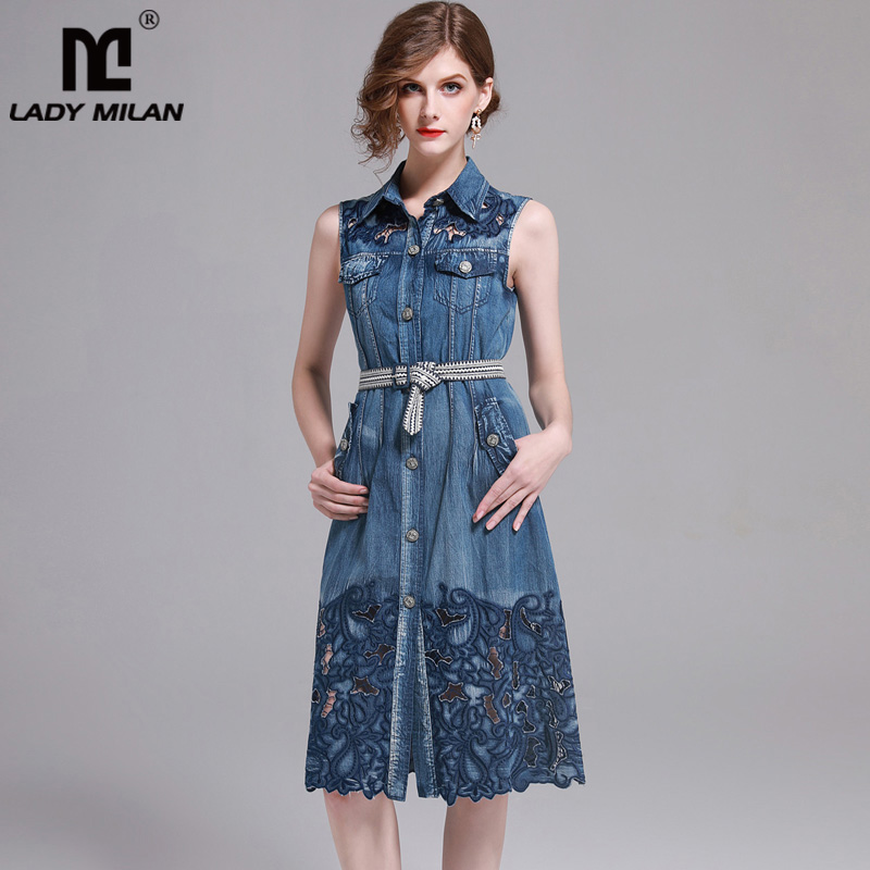 New Arrival 2018 Womens Turn Down Collar Sleeveless Embroidery Hollow Out Fashion Casual Denim Dresses