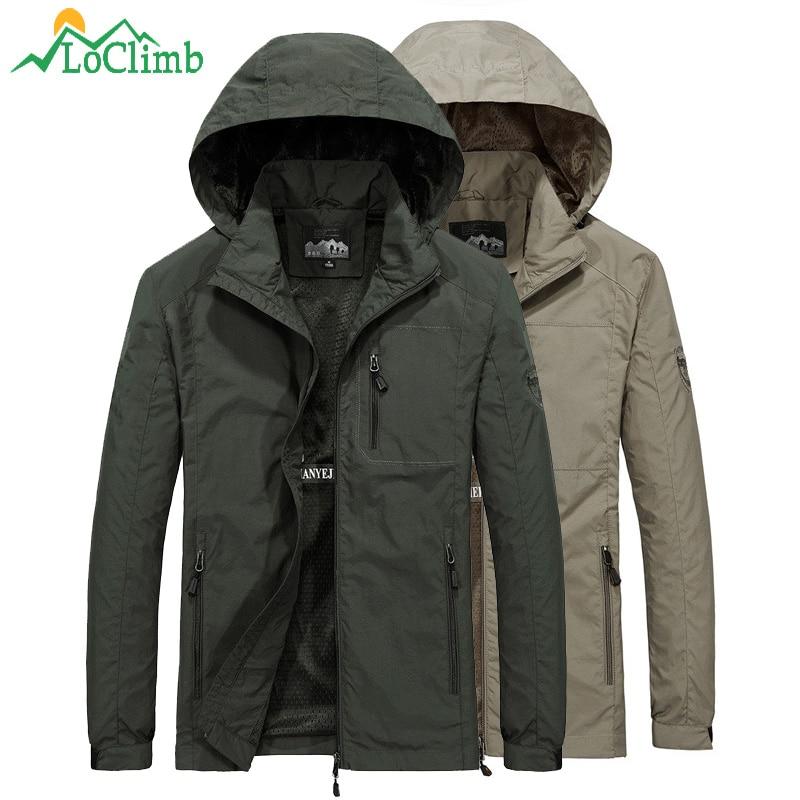 LoClimb Outdoor Hiking Jacket Men Spring/Summer Rain Coat Camping/Trekking Men's Windbreaker Fishing Waterproof Jacket Man AM373