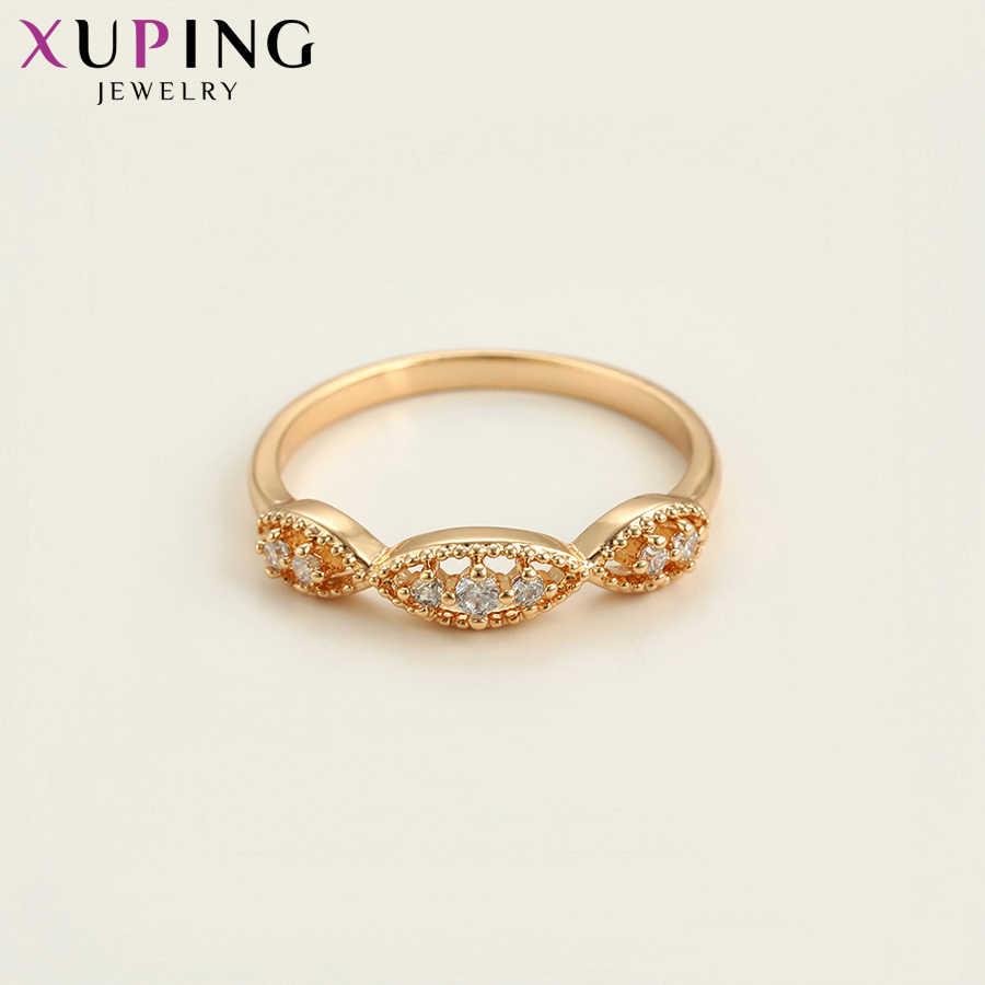 Xuping Sastra Gaya Cincin Vintage Warna Rose Emas Plated Perhiasan Natal Hadiah untuk Wanita S100.3-15878