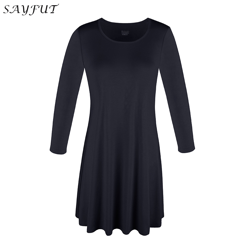4dd20a91 SAYFUT Womens O Neck Solid Plain Swing Tunic Top Casual T Shirt 3/4 Sleeve  Tunic Top Loose Fit Flare T Shirt Plus Size S 3XL-in T-Shirts from Women's  ...
