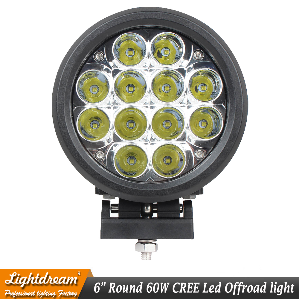 New 6 inch led lights Driving 60W Round Led OffRoad Lights 12V Spotlights HeadLight 4x4 Truck+ Protect Cover 12Leds x1pc-in Light Bar/Work Light from Automobiles & Motorcycles    3
