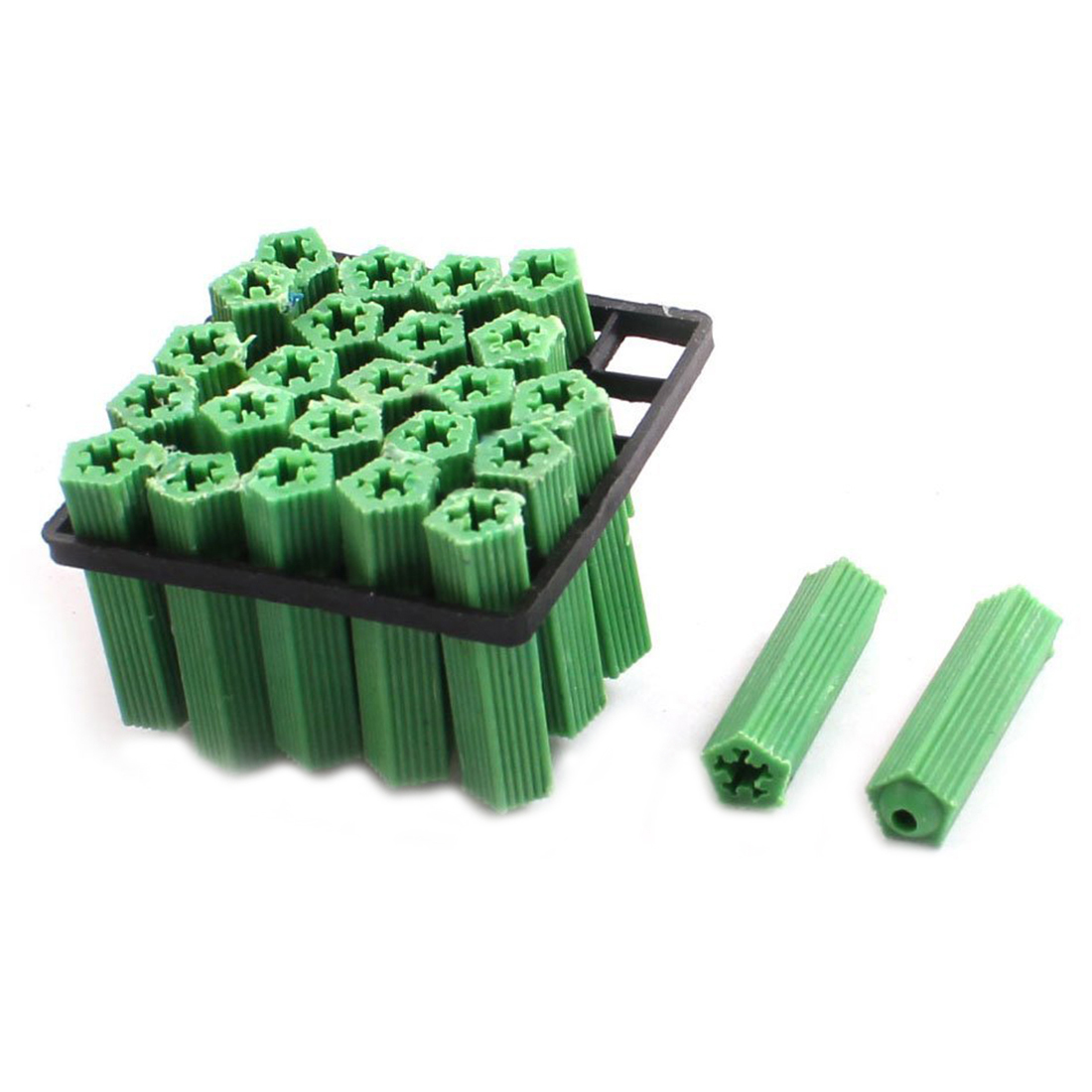 500 Pcs Green Masonry Screw Fixing Wall Anchor Plugs 6mm x 27mm500 Pcs Green Masonry Screw Fixing Wall Anchor Plugs 6mm x 27mm