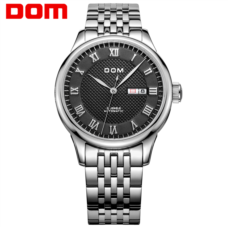 Men Watches DOM Mechanical Stainless Steel Wristwatch Hot Brand Automatic Business waterproof Casual watch Masculino Reloj M-59 hollow brand luxury binger wristwatch gold stainless steel casual personality trend automatic watch men orologi hot sale watches