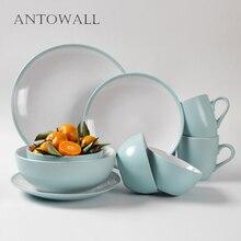 European Style Two-tone Ceramic Tableware Set Coffee Water Mug Rice Salad Soup Noodle Bowl Steak Fruit Plate Western Dish