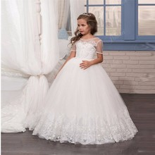 Classic Tulle First Communion Dresses White Flower Girl Dress for Wedding Lace Buttons V-Back Short Sleeves Girls Pageant GownLX