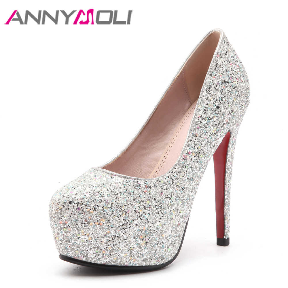 ANNYMOLI Glitter Wedding Shoes Women Pumps Extreme High Heels Platform Shoes  Bling White Bridal Heels Red 0282f713138f