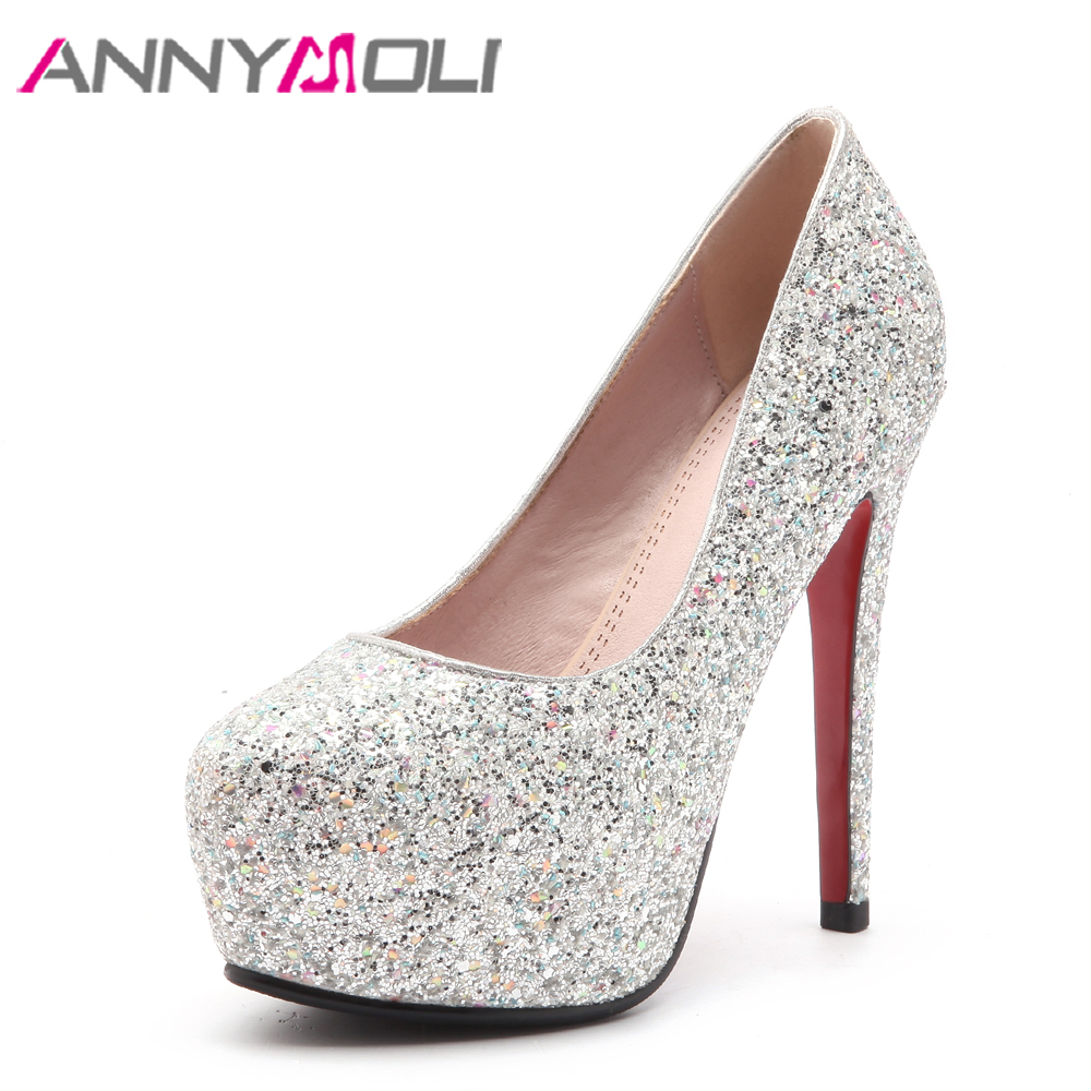 ANNYMOLI Glitter Wedding Shoes Women Pumps Extreme High Heels Platform Shoes Bling White Bridal Heels Red Evening Shoes 34-39