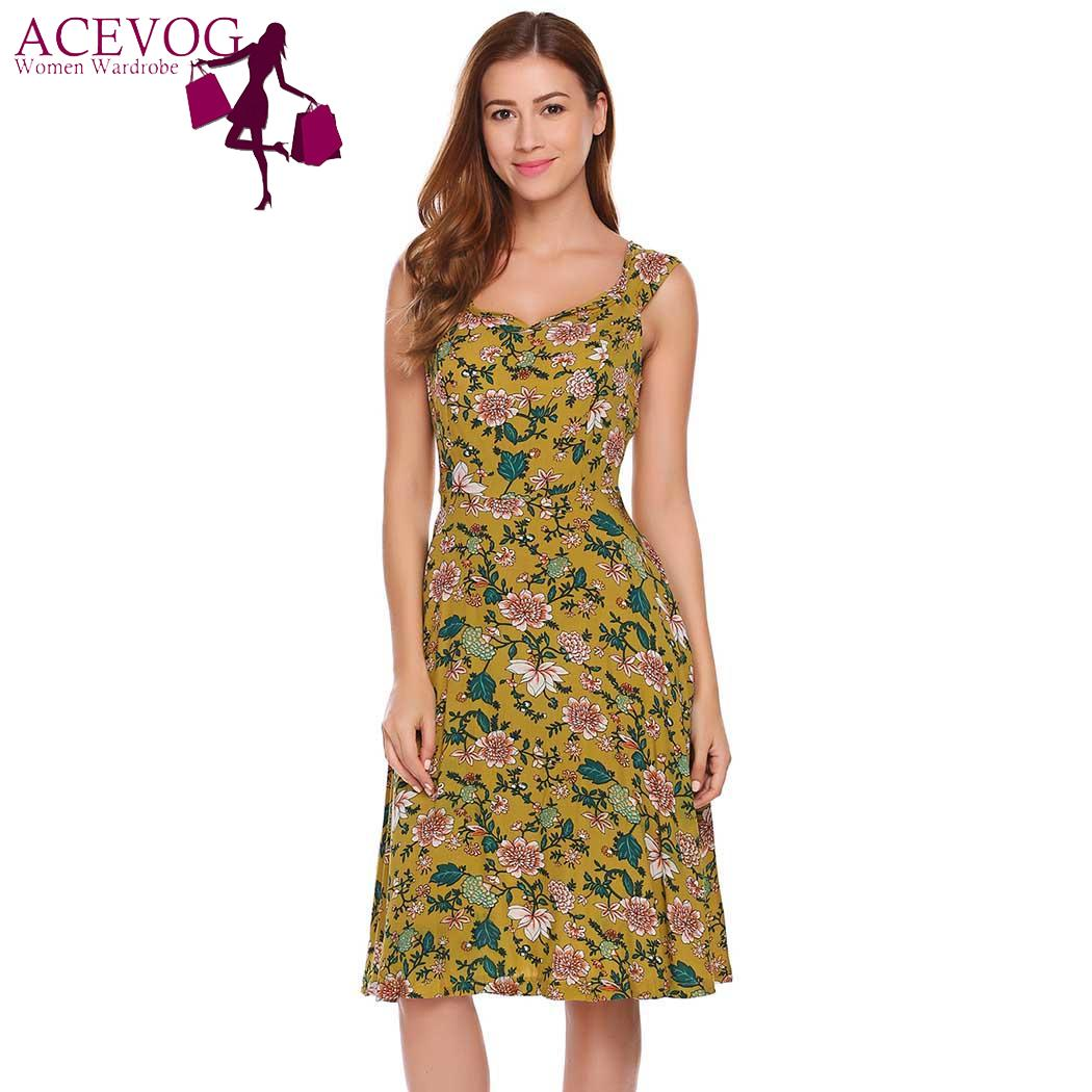 ACEVOG High Fashion Slash Neck Short Sleeve Floral Women Dress Floral print Vintage Beach Summer Dresses Waist A-Line Dress