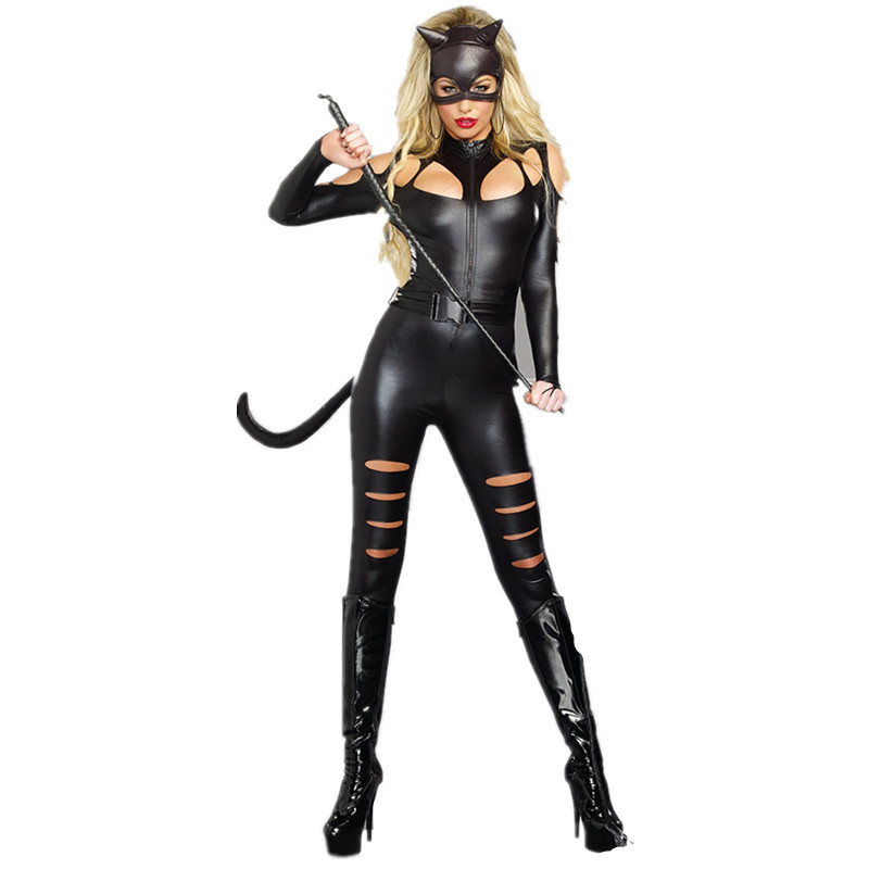 new sexy faux leather bodysuit women jumpsuit halloween cosplay costumes black vinyl catwoman outfit uniform hollow out catsuit in jumpsuits from womens