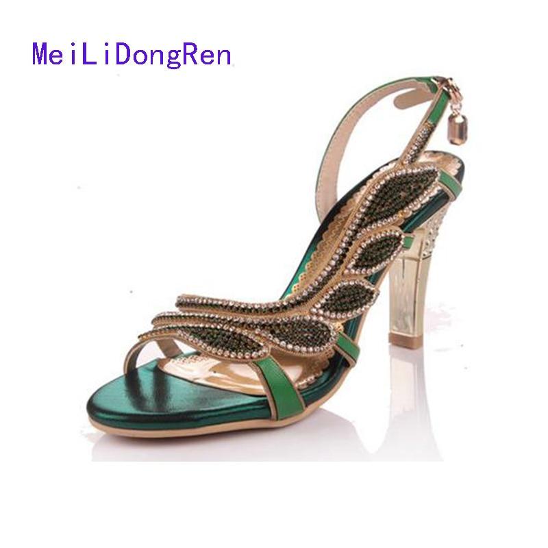 2017 Genuine Leather Rhinestone Crystal Women Medium Heel Sandal 8 cm High Heel Shoes Gold Sandals Plus Size 33-41 big size 33 41 genuine leather women rhinestone shoes roman sandals 2015 hollow out sexy high heel shoes sandals
